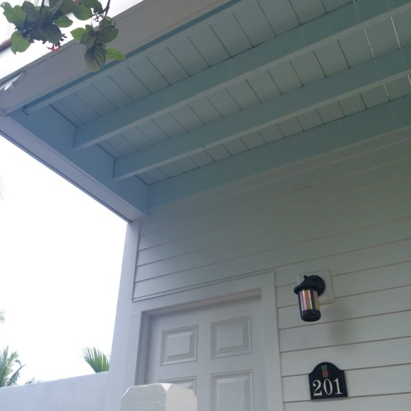 "The Gullah people of Africa believed that ocean water scared away evil spirits so they painted the roof overhangs a pale blue to represent water and prevent spirits from entering house. Many people in Key West carry on this tradition; I might try it on my classroom to prevent a few ""evil spirits"" as well."