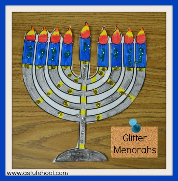 Glitter menorahs