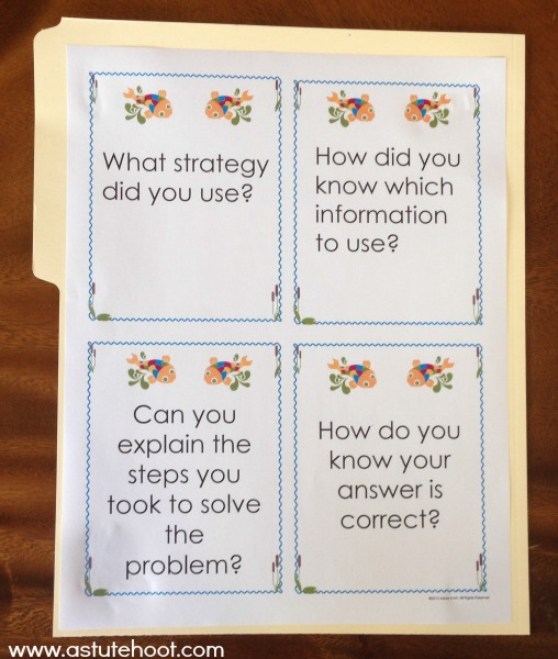 Back of problem solving journal mat